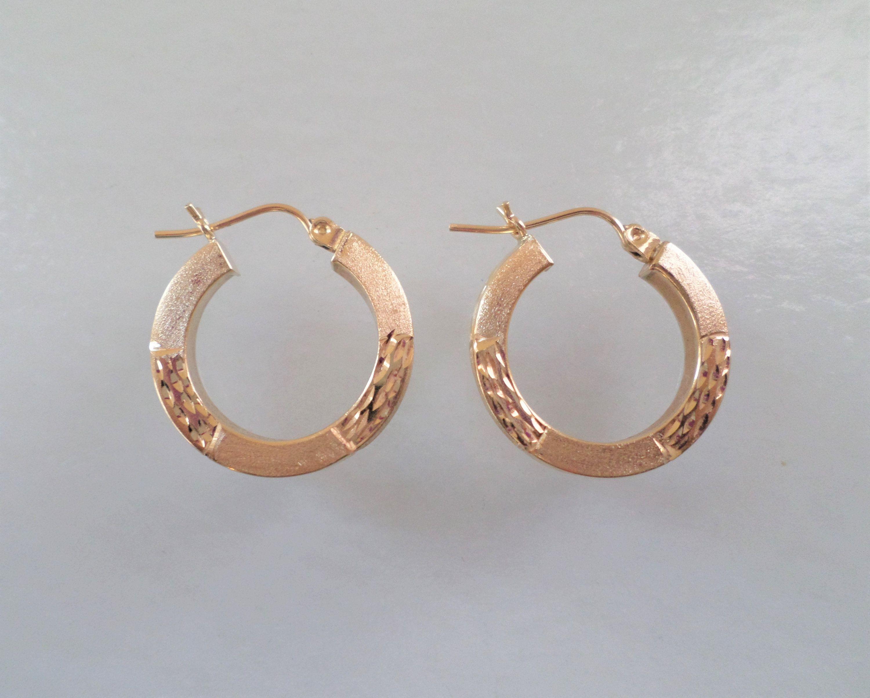 14K Gold Stamped JVB Signed 19 Grams Diamond Cut Details Hoop Earrings By Bestintreasures On Etsy