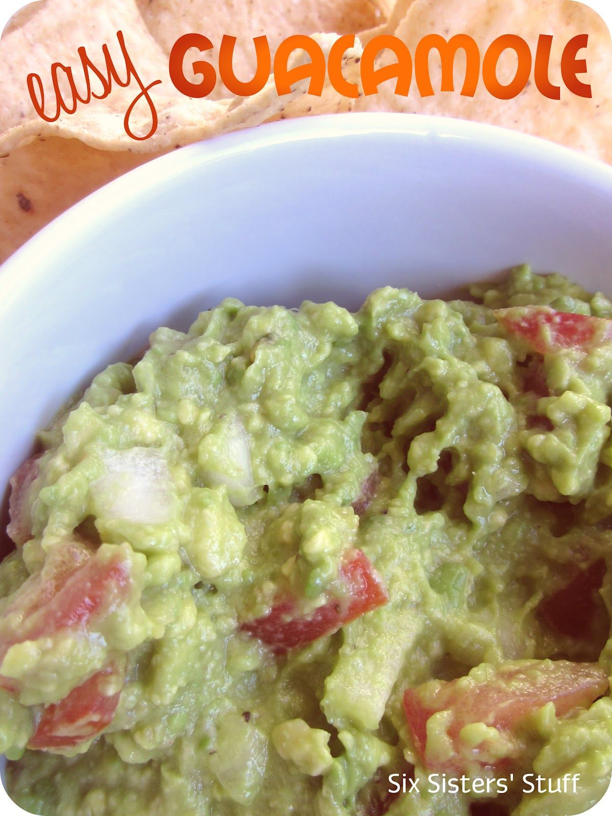 Easy Guacamole from SixSistersStuff.com.  So much cheaper and more delicious than anything you buy from the store! #recipes #guacamole