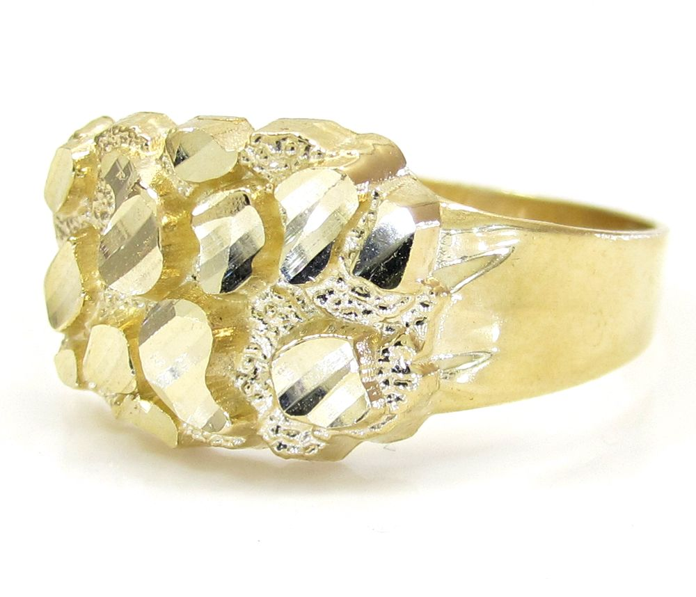 Mens 10k Yellow Gold Small Nugget Ring Custom Diamond Jewelry Mens Rings Fashion Jewelry