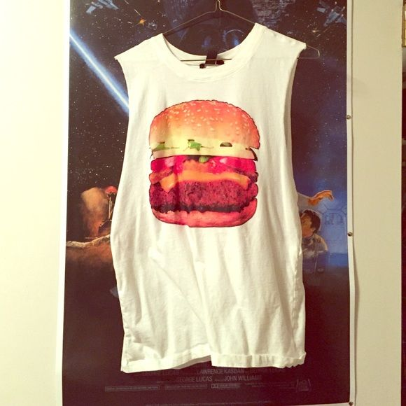 Muscle tank This cute hamburger muscle tank is from Forever 21 in a size large. It's never been worn. And is super cute. Need to find it a good home. Open to offers and possibly trades happy poshing ✨ Forever 21 Tops Muscle Tees
