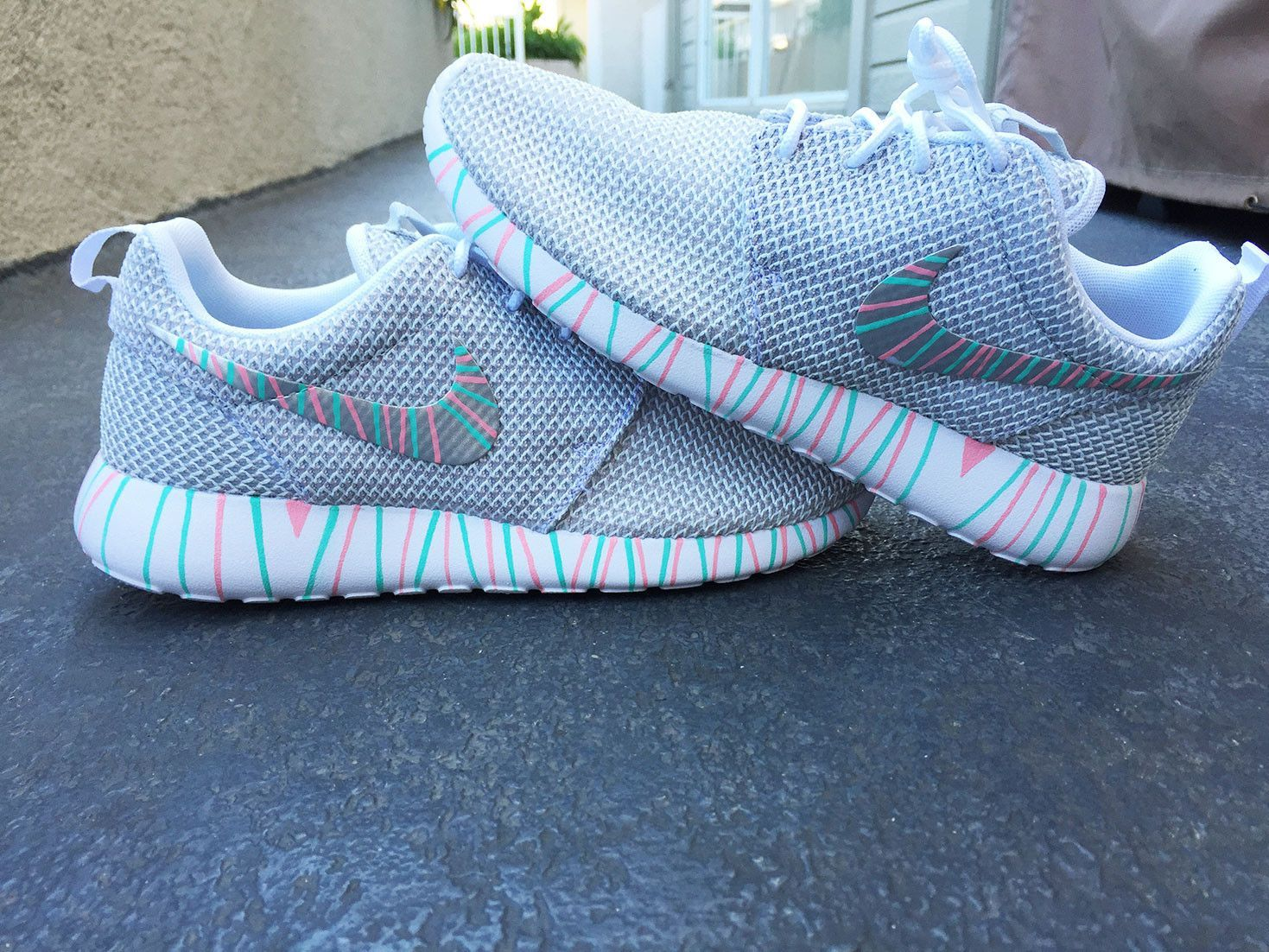 new arrival 0cd9a 4d15d Womens Custom Nike Roshe Run sneakers, South Beach teal, Pink petals, Customized  sneakers, Fashionable design, trendy and cute, platinum