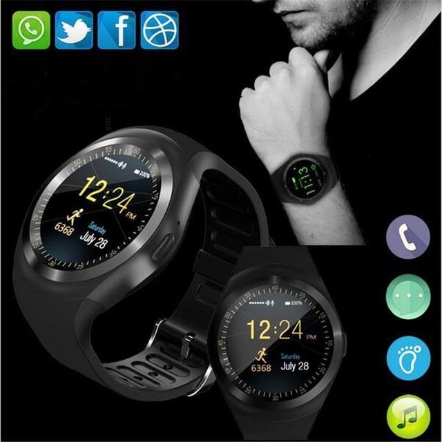 e72d9cc948b Relógio Celular Y1 Redondo Ewatch Inteligente Chip Bluetooth ...