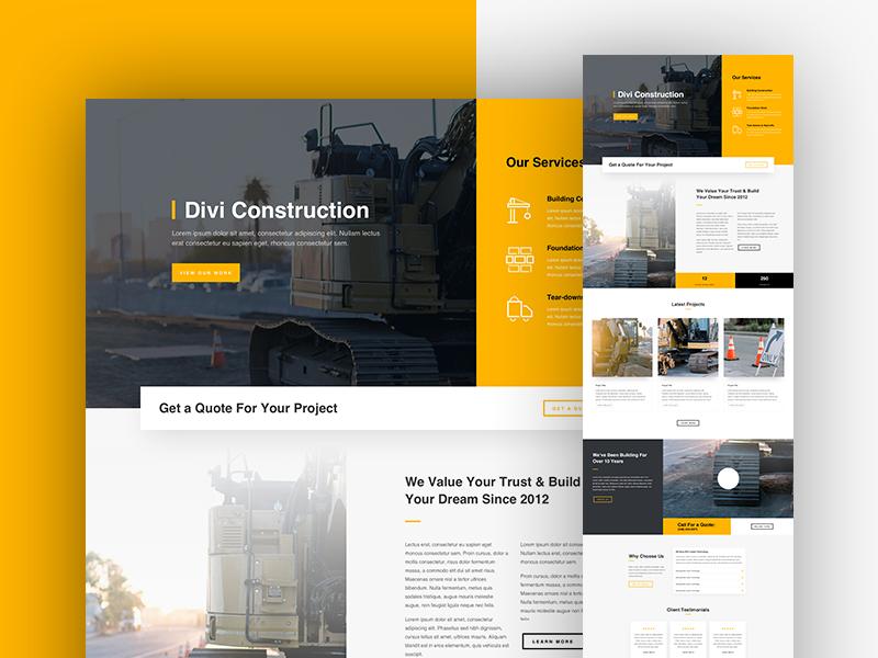 Construction Company Landing Page Design Construction Website Landing Page Design Company Brochure Design