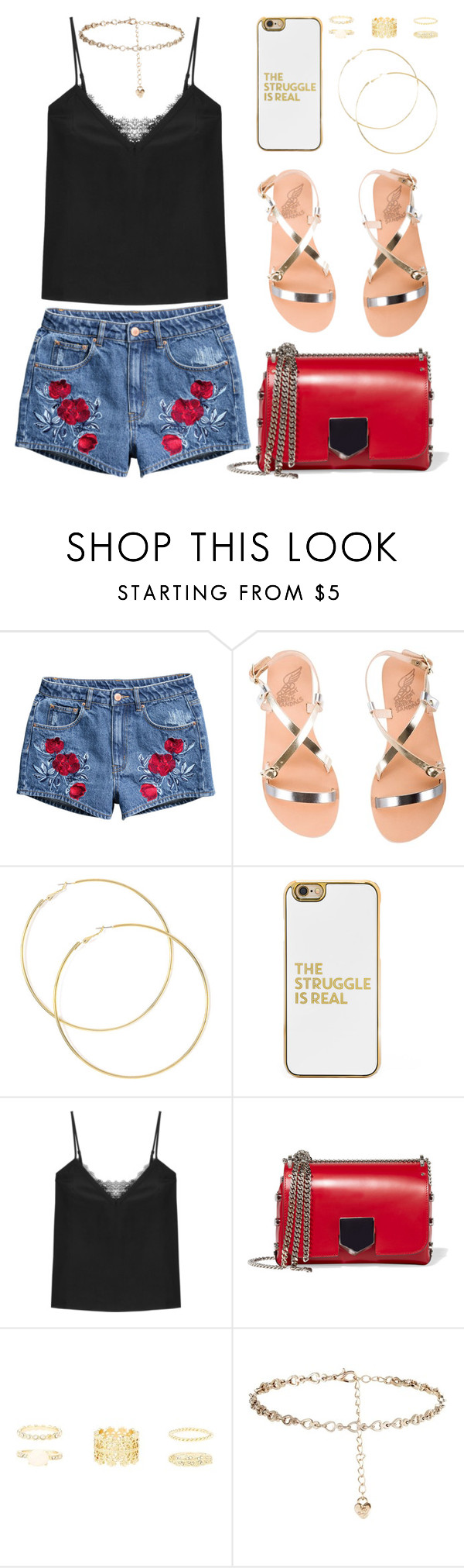 """""""BA71: 11.11"""" by bugatti-veyron ❤ liked on Polyvore featuring H&M, Ancient Greek Sandals, BaubleBar, The Kooples, Jimmy Choo, Charlotte Russe and Lipsy"""