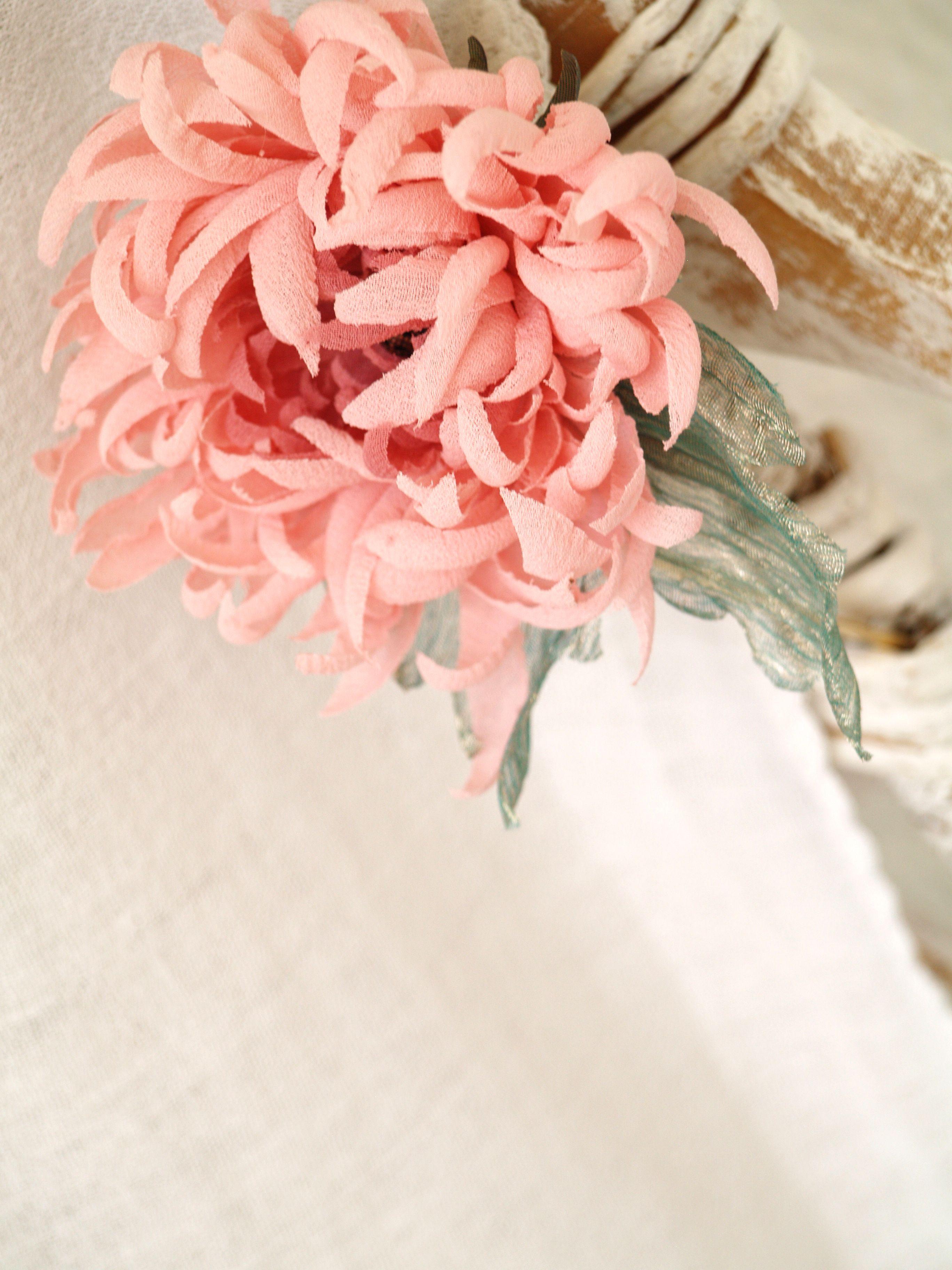 Pale Pink Flower Headband Flower Fascinator Silk Chrysanthemum Pale