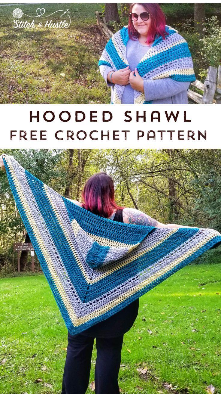 Woodward Hooded Shawl Free Crochet Pattern #shawlcrochetpattern