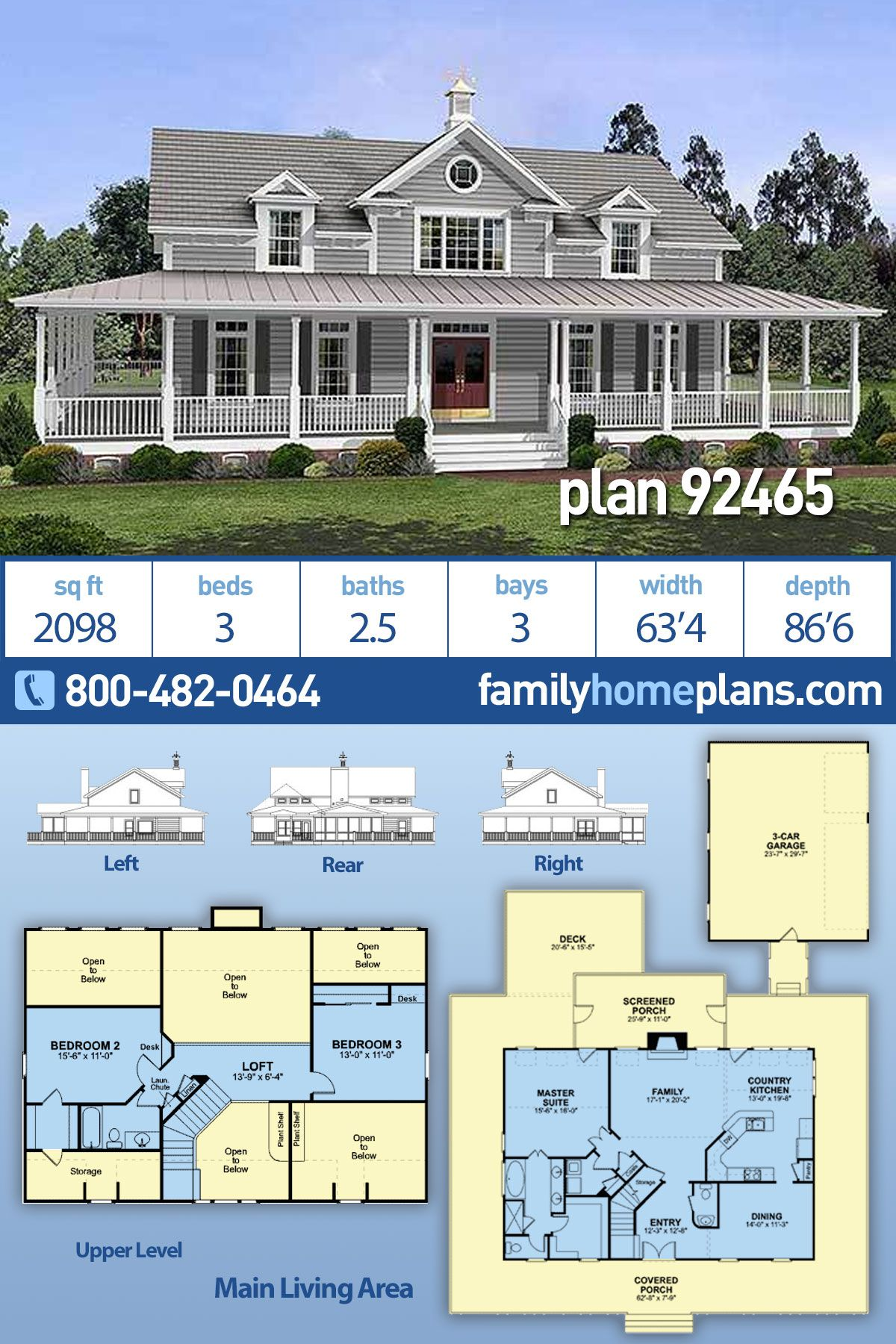 Southern Style House Plan 92465 With 3 Bed 3 Bath 3 Car Garage Porch House Plans Country House Plans Southern Style House Plans