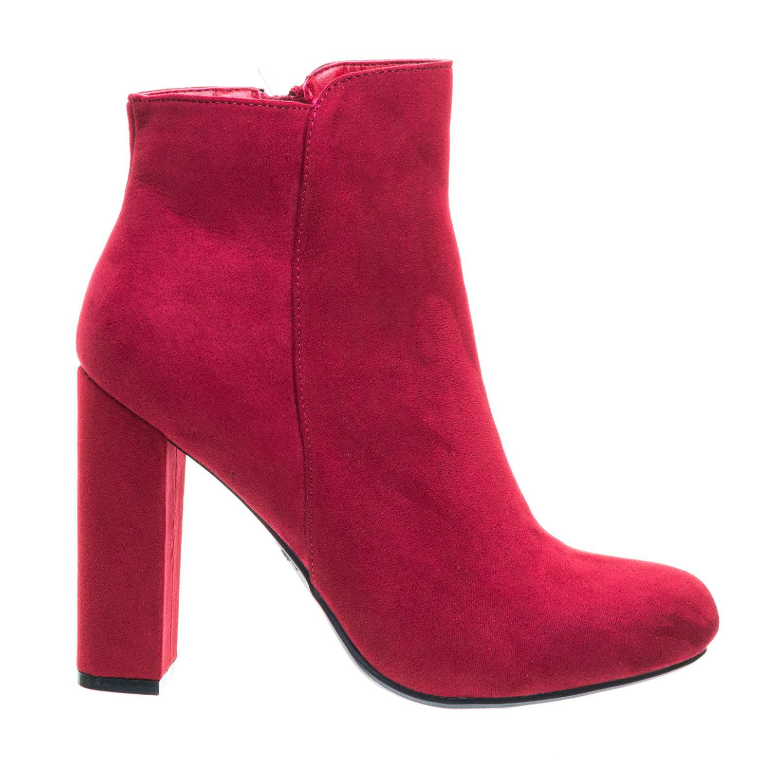 Embossed & Embroidery Block Heel Ankle Bootie w Faux Fur Lining