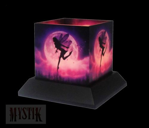 Seeking serenity glass hurricane candle holder, fantasy fairy moon silhouette,