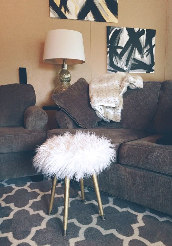Sensational White Faux Fur Stool Metallic Gold Wood Legs White Fake Cjindustries Chair Design For Home Cjindustriesco