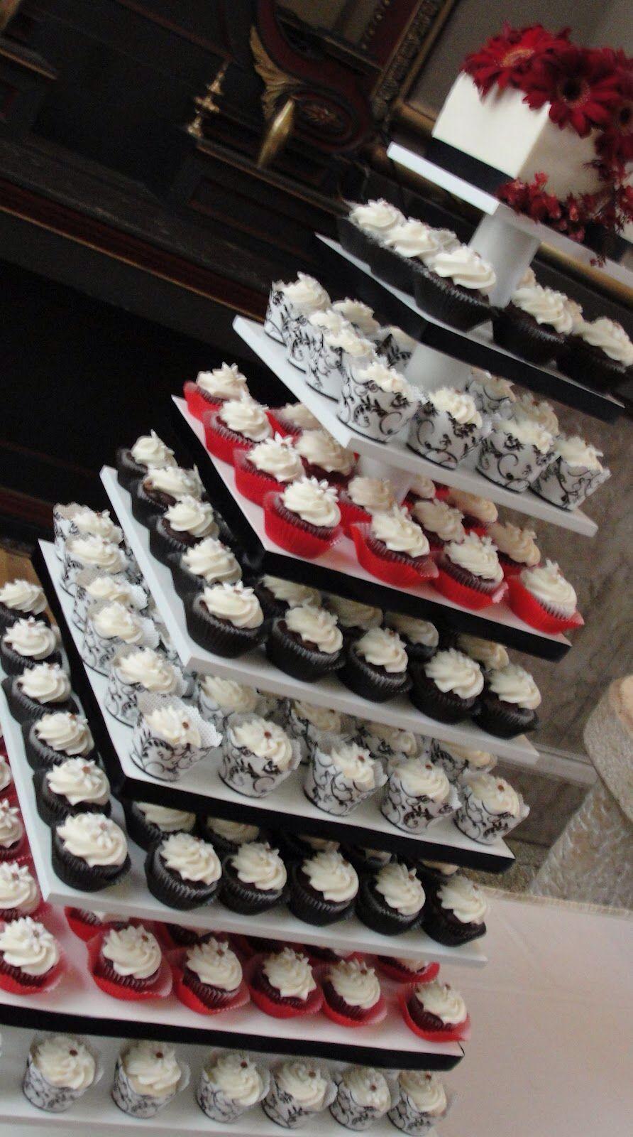 Cupcake tower Wedding cake red, Black red wedding