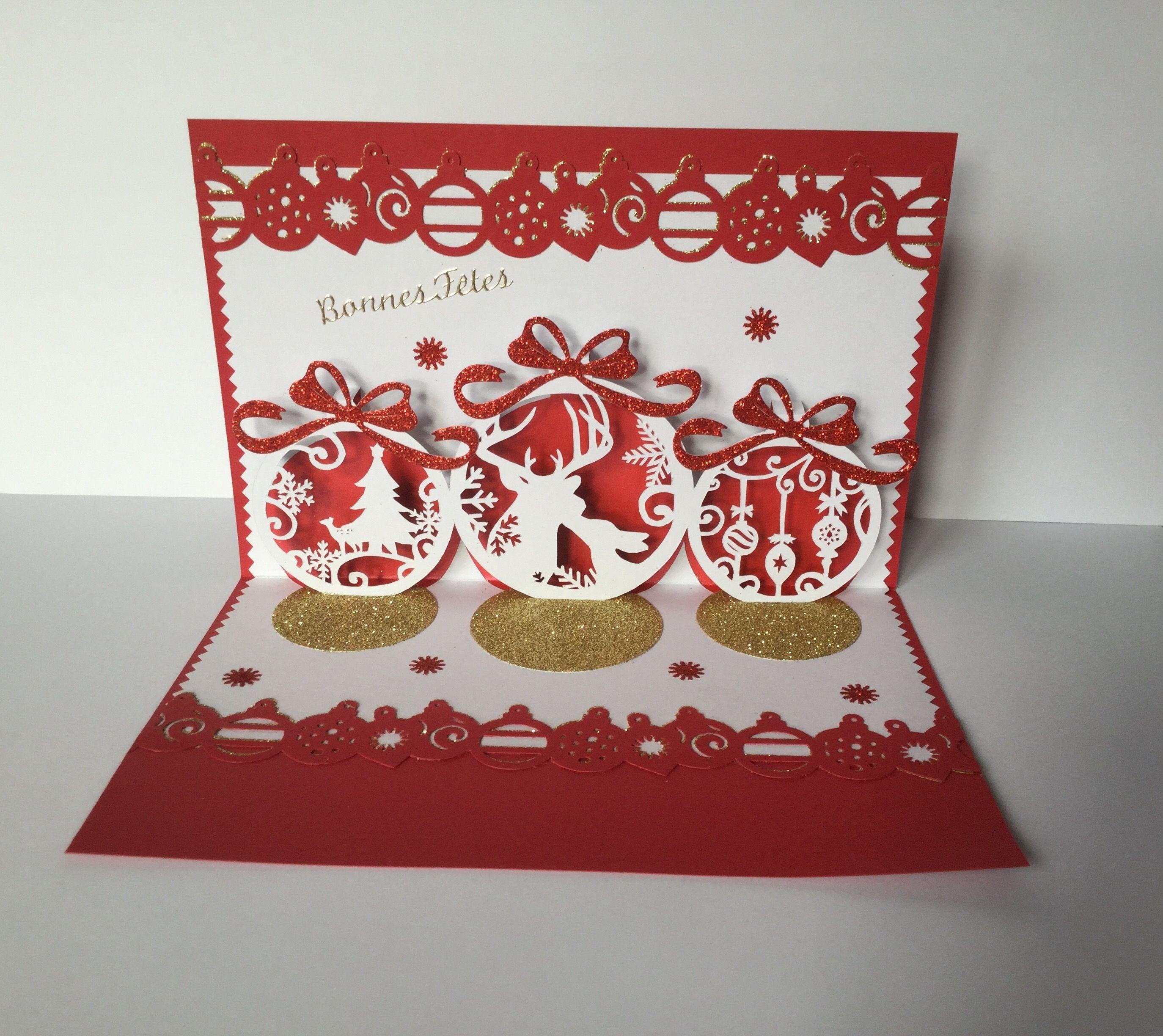 Kirigami boules de Noël , bonne annee | Tutoriel kirigami, Carte