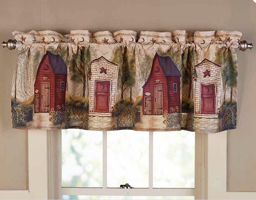 Rustic Country Window Valance Curtain Bathroom Decorating Idea