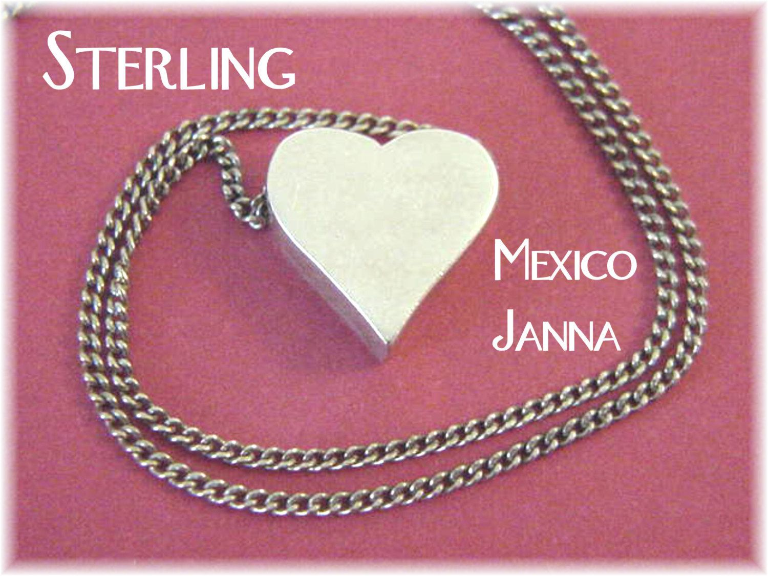 Janna Thomas - Mexican Sterling Silver Heart Pendant Necklace 1960s - Mexico Silversmith  - Great Gift Anniversary Love - FREE SHIPPING