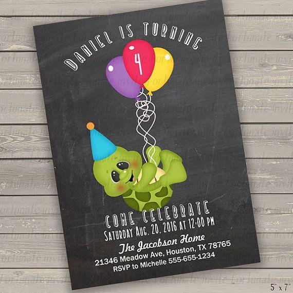 turtle invitation birthday invitation for boys por FortunateInvite