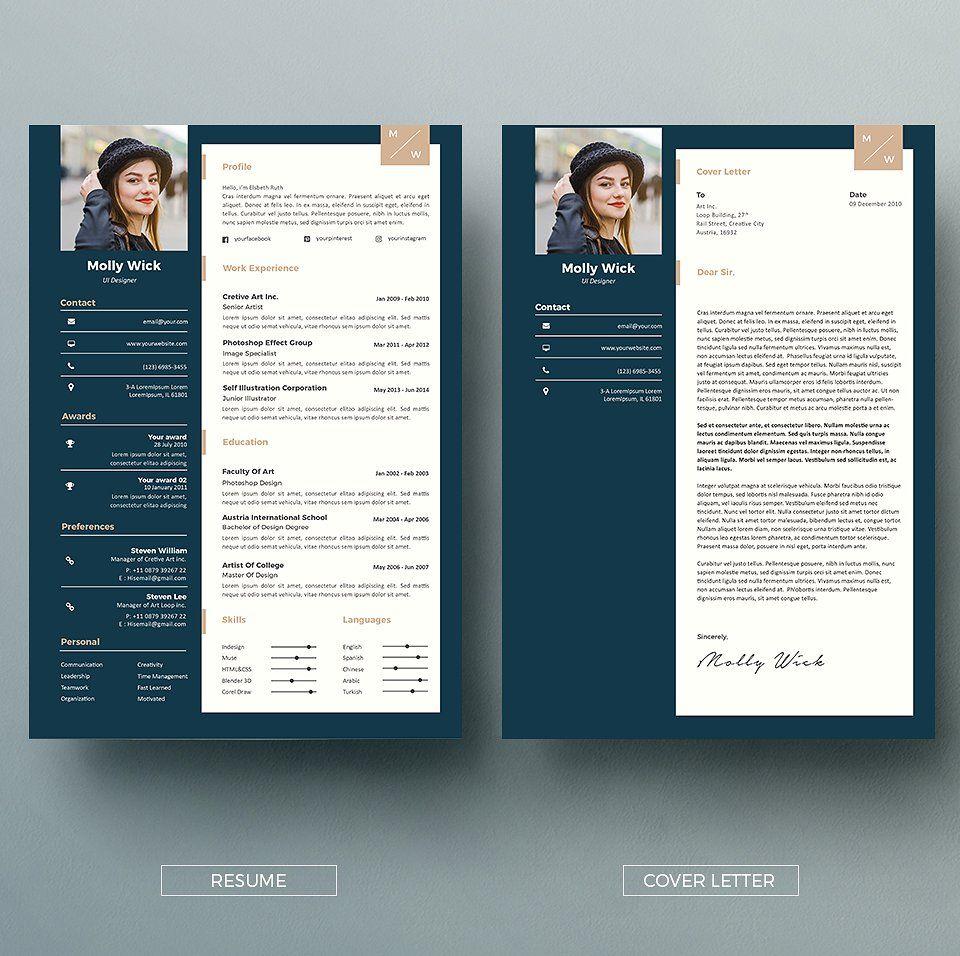 Modern Resume Coverletter Template Resume Cover Letter For Resume Clean Resume Template