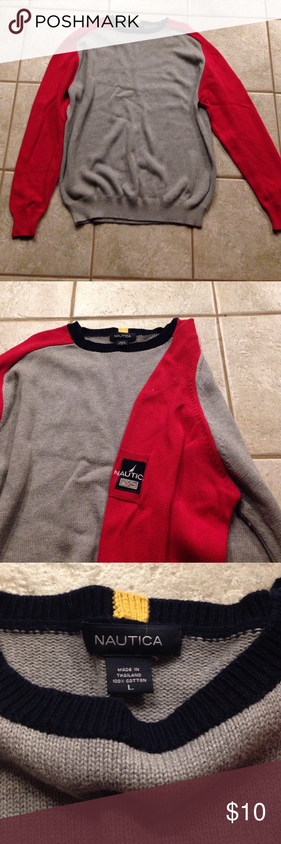 Men's Nautica Sweater Men's Nautica Sweater. 100% cotton. Gray with red sleeves and navy neck. Nautica Sweaters