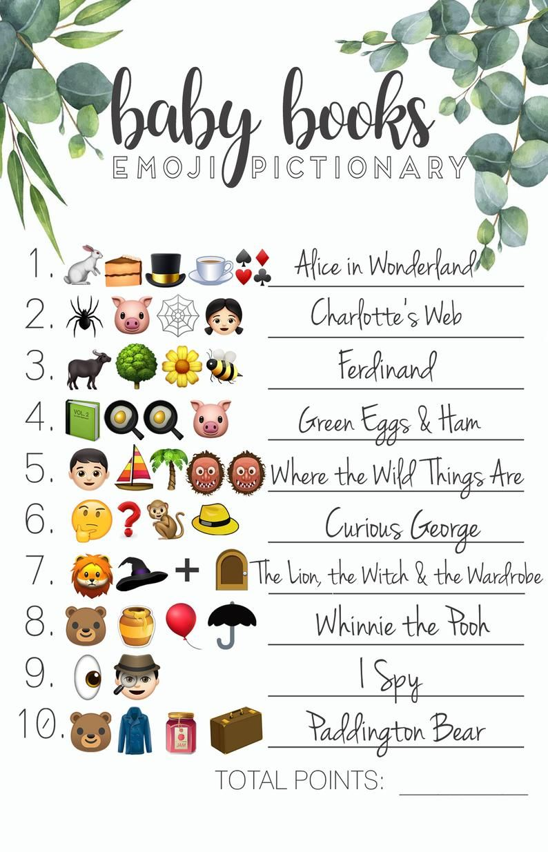 Baby Shower Emoji Pictionary Game with answer key Etsy