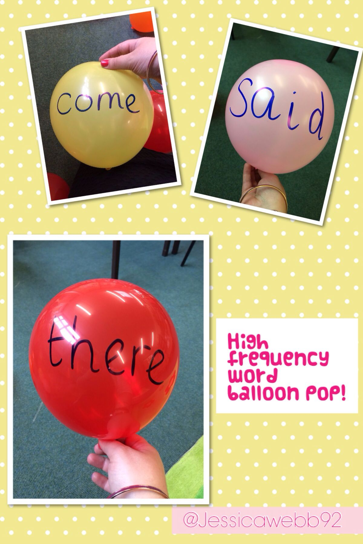 Popping Balloons With High Frequency Words On Eyfs With