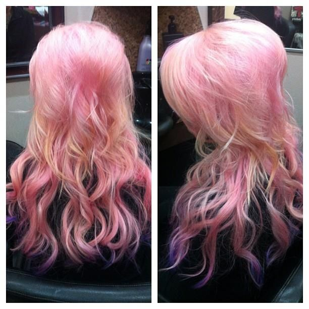 52 Ombre Rainbow Hair Colors To Try 2: Bubblegum Pink By Hair Fairy! Find And Like Hair Fairy On