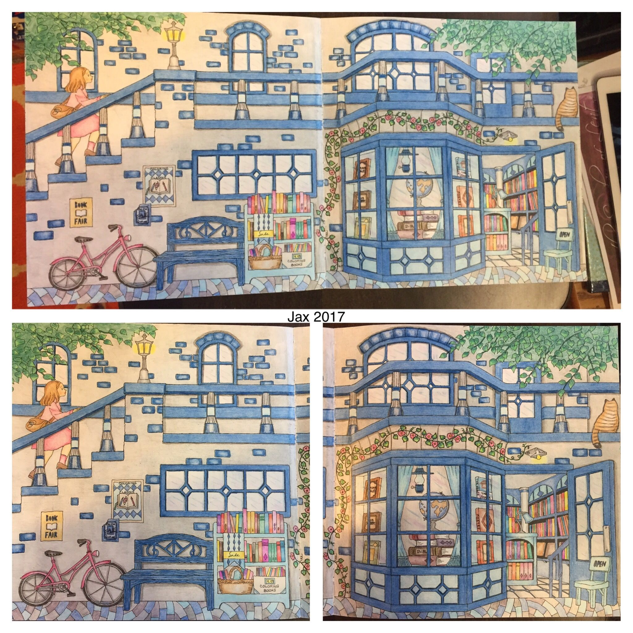 Whitman hot wheels coloring book - My Colorful Town By Chiaki Ida Outside Of Library Bookstore Completed Adult Coloring Pages Done