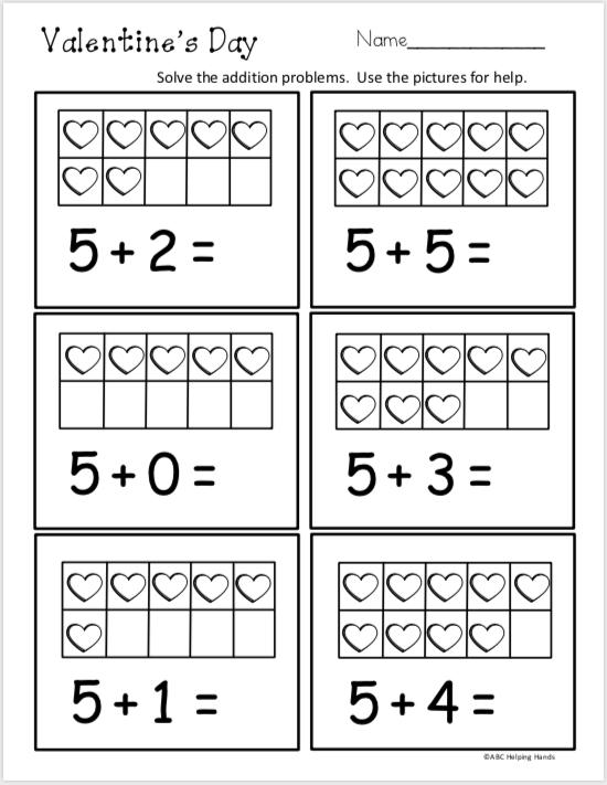 Free Kindergarten Math Addition Worksheet Valentine S Day Madebyteachers Kindergarten Math Worksheets Free Kindergarten Math Worksheets Kindergarten Math Free