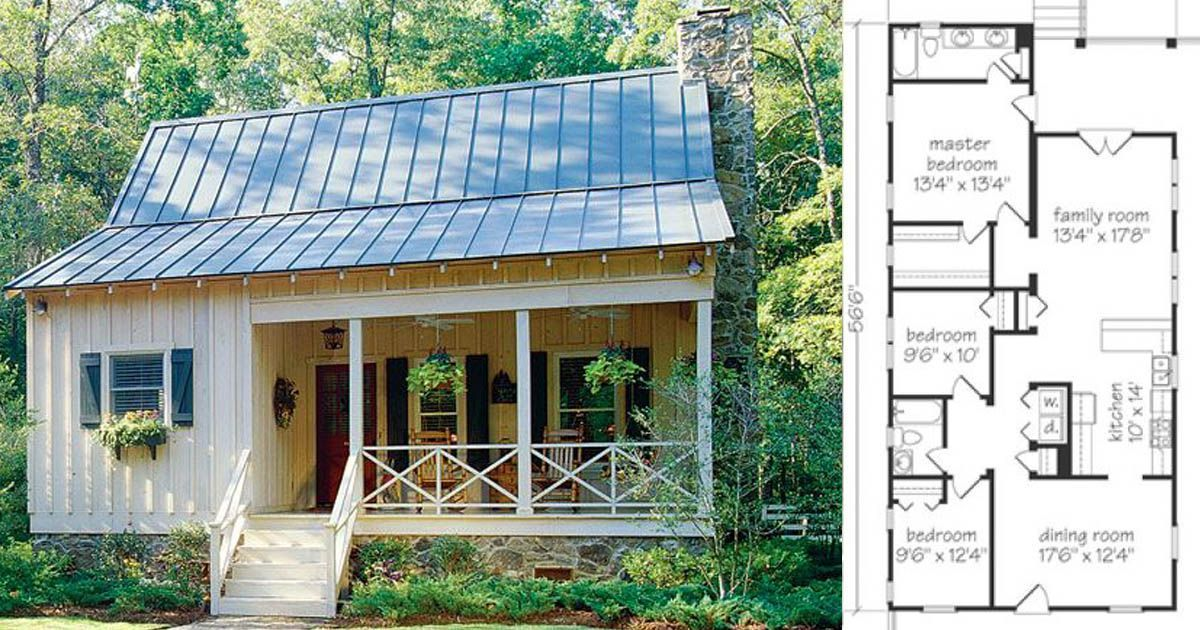 Check Out These 6 Tiny Farmhouse Floor Plans For Cozy Living Under 1500 Square Feet Tiny Cottage Floor Plans Southern Living House Plans Tiny Cottage