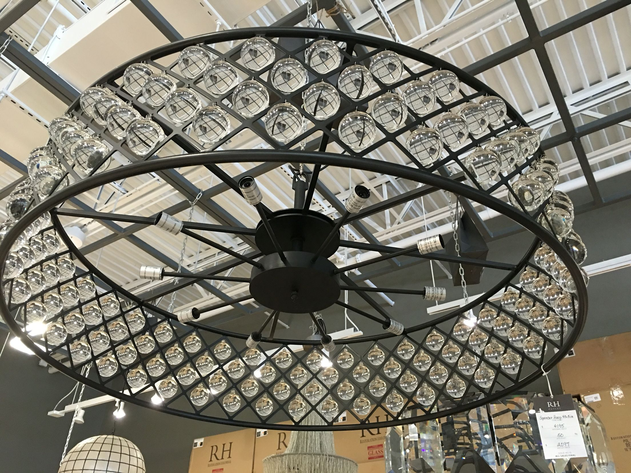 "Restoration Hardware Spencer Hoop 43 5"" Chandelier $1259 sale"