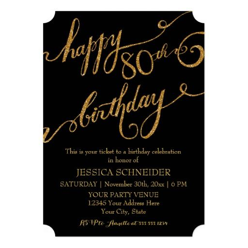 80th, Eightieth Birthday Party Celebration Personalized Announcements