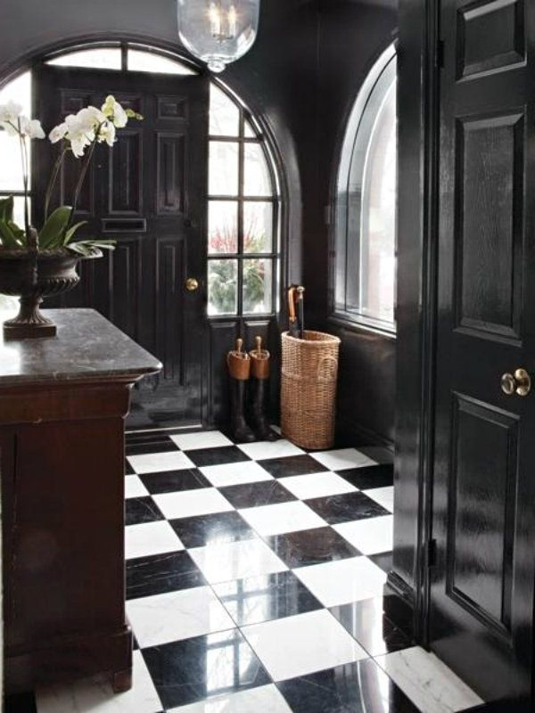 "black and white all over... the floor #whitemarbleflooring I've been seeing more designers and celebs choose these ""elegant"" old school black and white marble floors for their homes. #whitemarbleflooring"