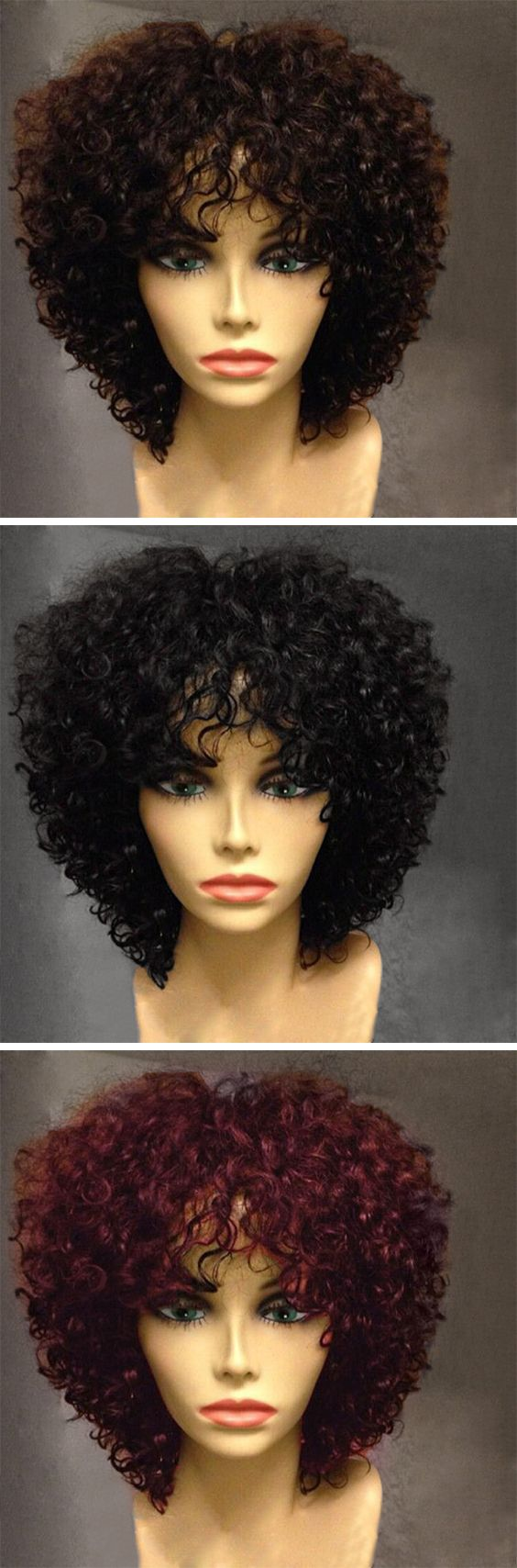 Short Side Fringe Fluffy Afro Curly Synthetic Wig Natural Hair Styles Wig Hairstyles Hair Styles