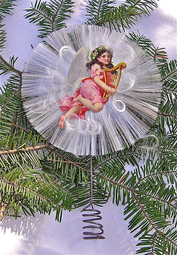 Spun Glass German Style Christmas Tree Topper With Pink Angel Scrap