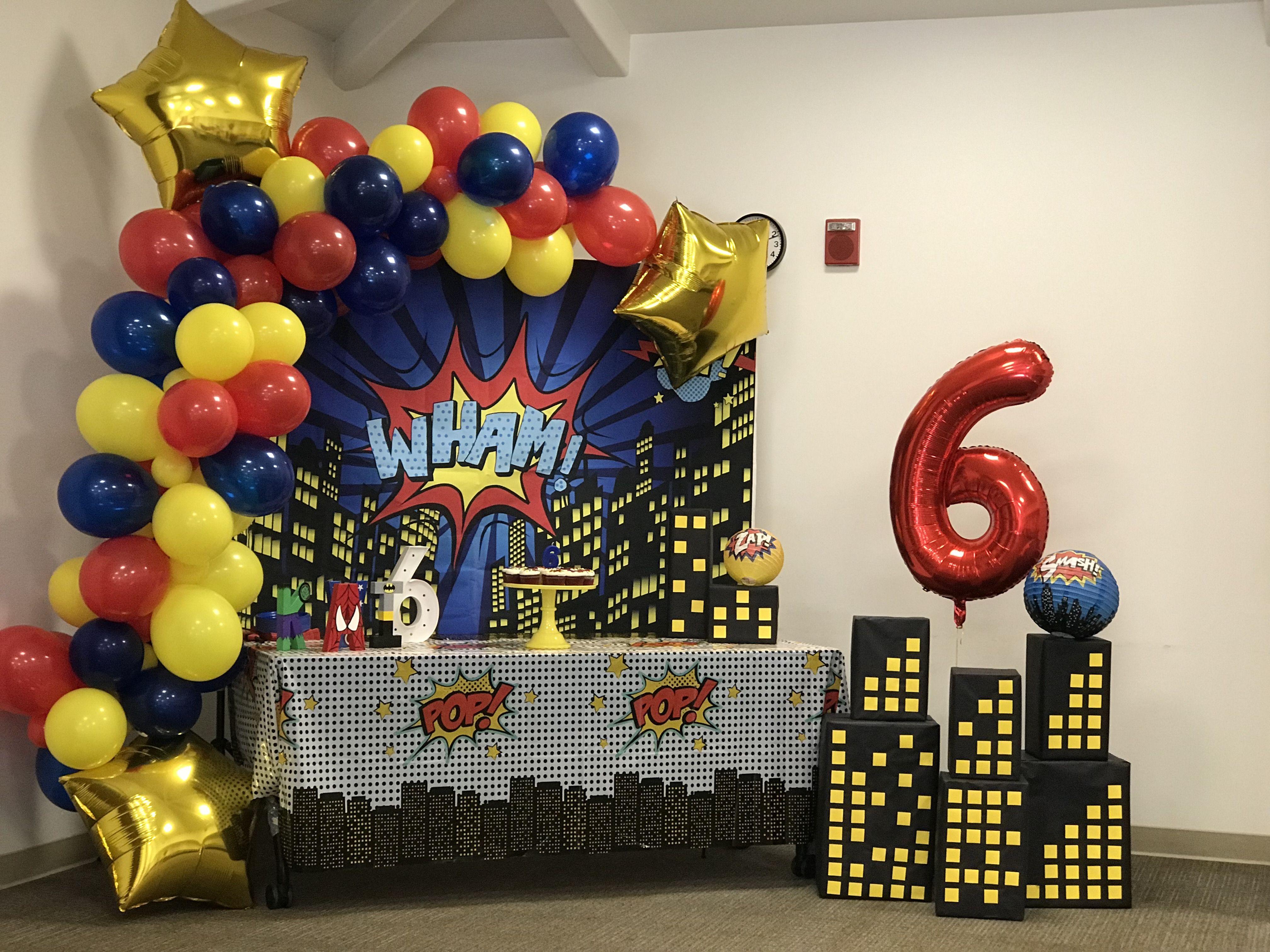 Super Hero Cake Table And Backdrop Spiderman Birthday Party Avenger Birthday Party Superhero Birthday Party