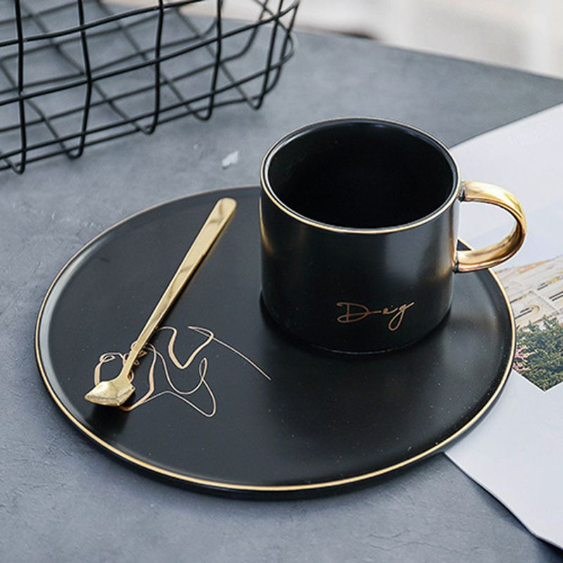 Creative black ceramic coffee mug and saucer with spoon