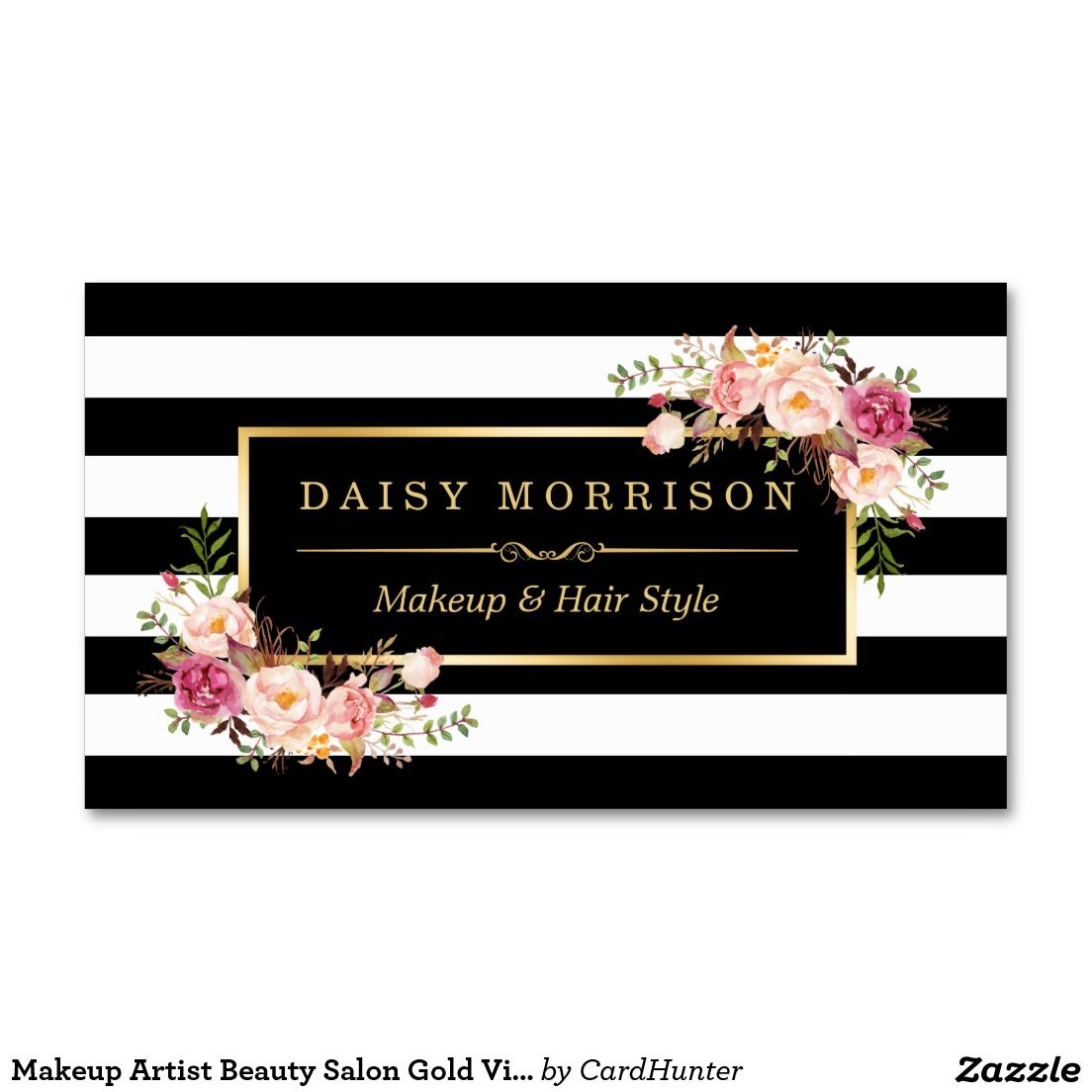 Makeup Artist Beauty Salon Gold Vintage Floral Business Card ...