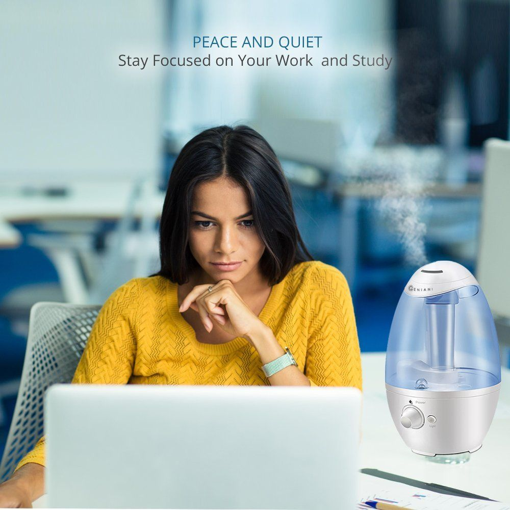 Ultrasonic Quiet Cool Mist Filter Free 3L Humidifier with NIGHTLIGHT /& Auto Off