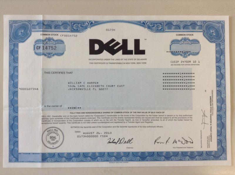 Stockbond Dell Computer Stock Certificate Rare Privatized
