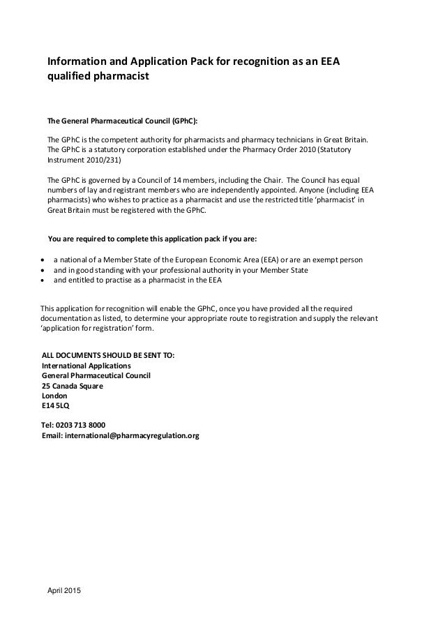 gphc eea pharmacist standard information pack april letter for - certification of employment sample
