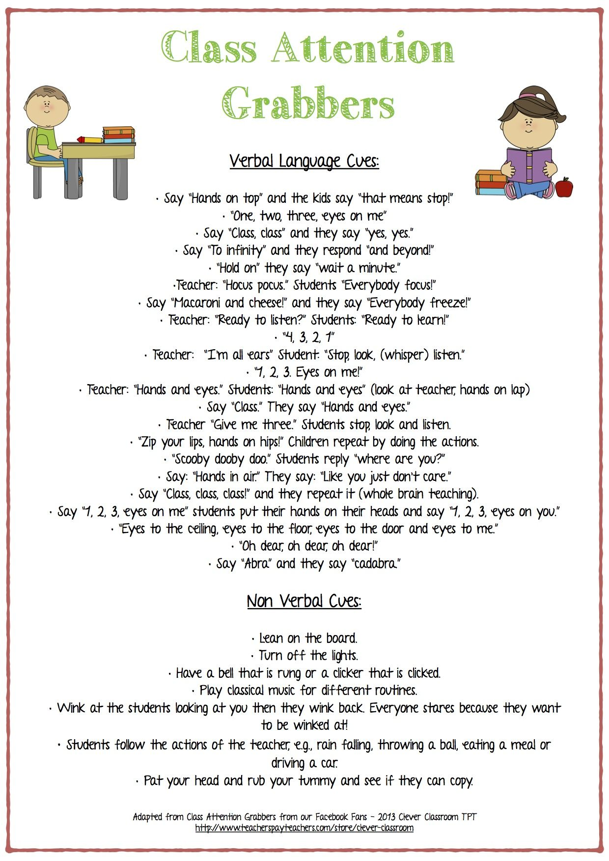Class Attention Grabbers - Verbal and Non-Verbal
