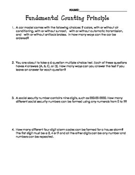 The Fundamental Counting Principle Worksheet | Worksheets, Word ...