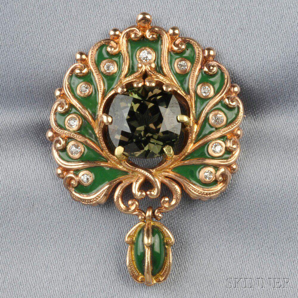 Art Nouveau 18kt Rose Gold and Alexandrite Pendant Brooch, Marcus & Co.