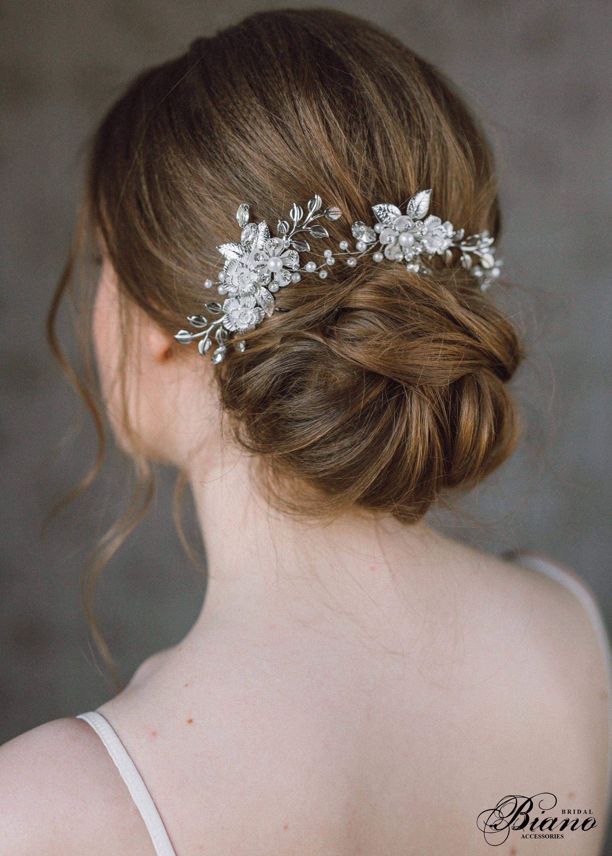 wedding hair comb, leaf hair comb, bridal hair accessory, flower