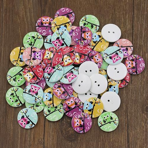 Photo of 50 Pcs Mixed Owl 2 Holes Wooden Buttons Sewing Craft Clothing Scrapbooking DIY – as the picture al