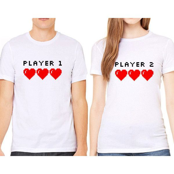 6e9ec858f7 White Tshirt Player 1 Player 2 Couples Shirts Valentines Day ($15) ❤ liked  on Polyvore