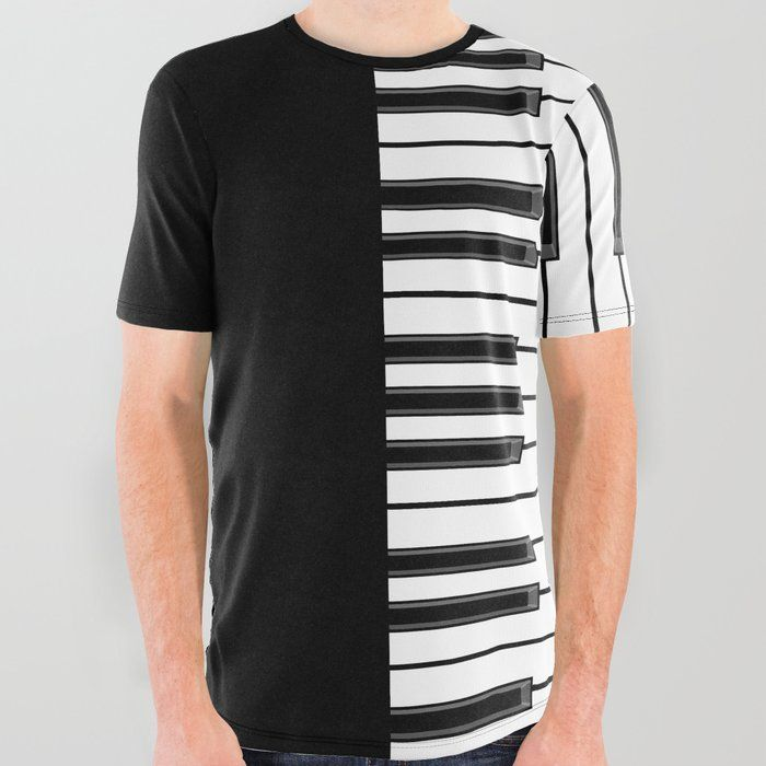 ac413582c Buy Ebony & Ivory All Over Graphic Tee by grandeduc. piano, music, keys
