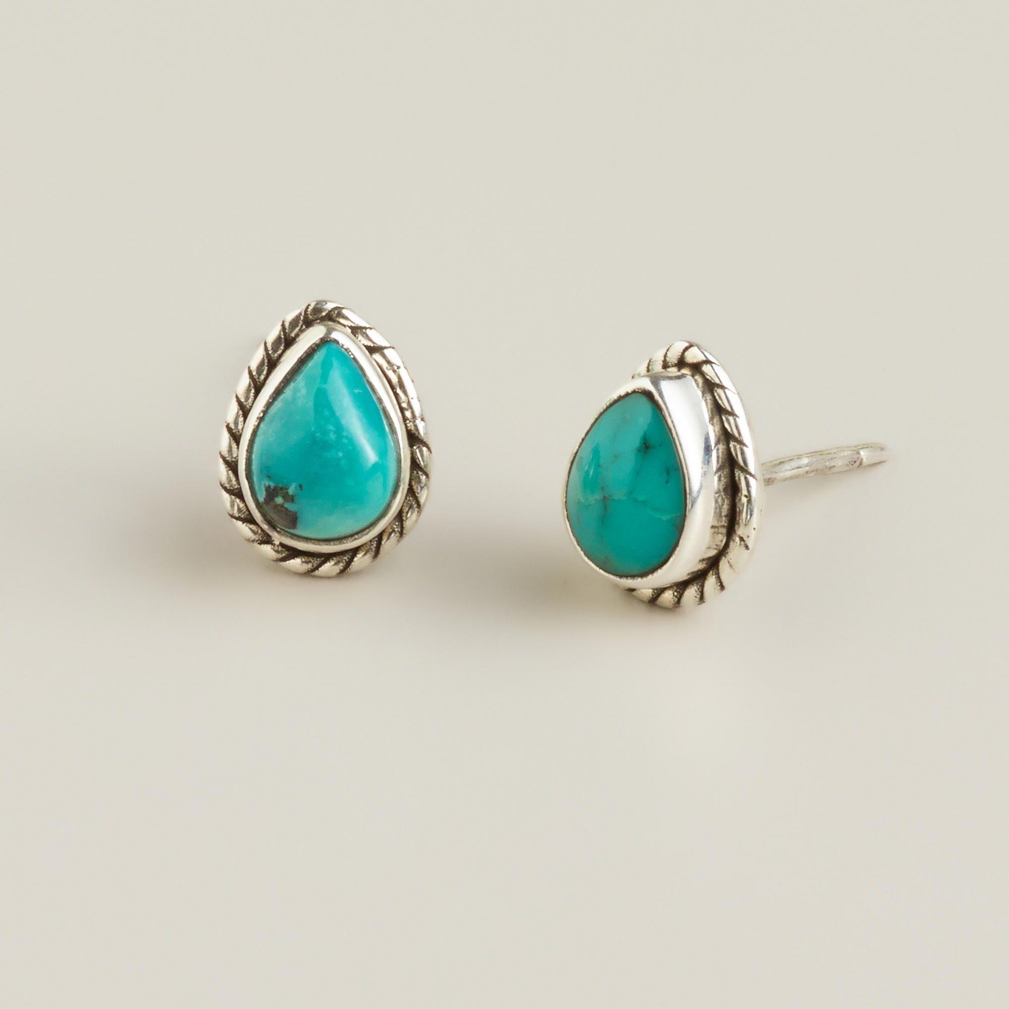 Sterling Silver Turquoise Teardrop Stud Earrings World Market