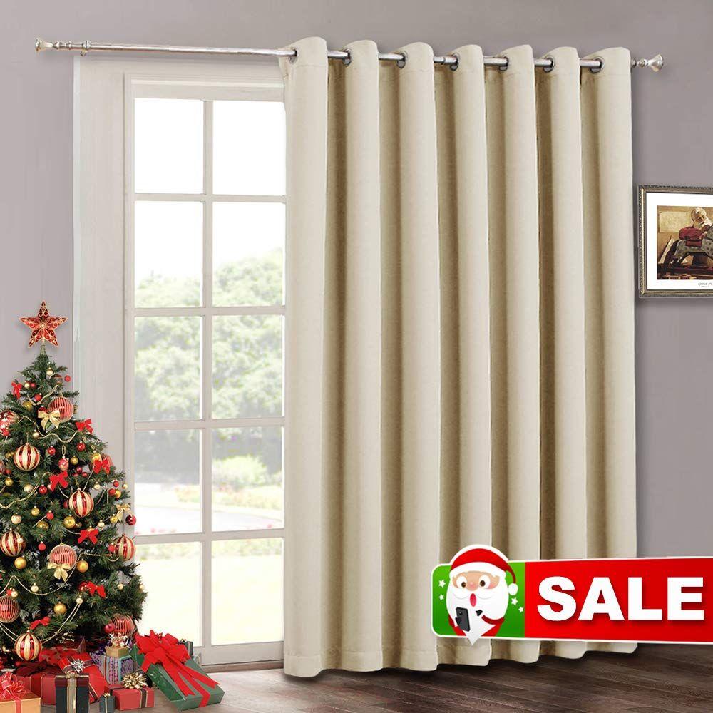 Sliding Door Curtain Window Drapes Solid Room Darkening Light
