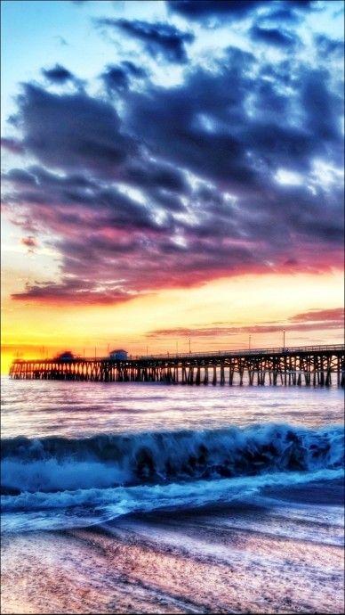 California Beach Dock Sunset IPhone 6 Wallpaper