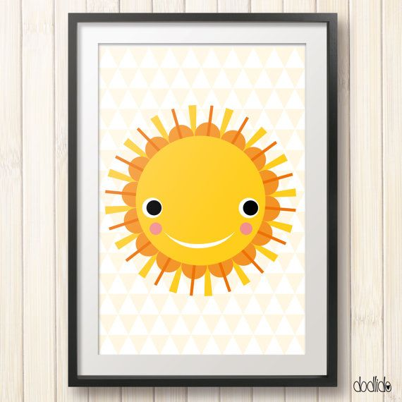 Sun poster,printable children\'s wall art,instant download,kids art ...