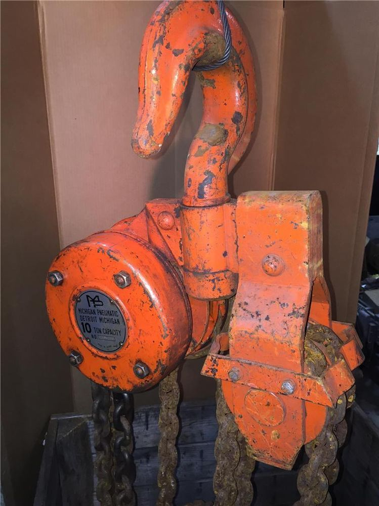 Heavy Duty 10 Ton Mpt Michigan Pneumatic 25ft Chain Fall Hoist Puller 009161 Mpt Hoist 10 Things Heavy Duty